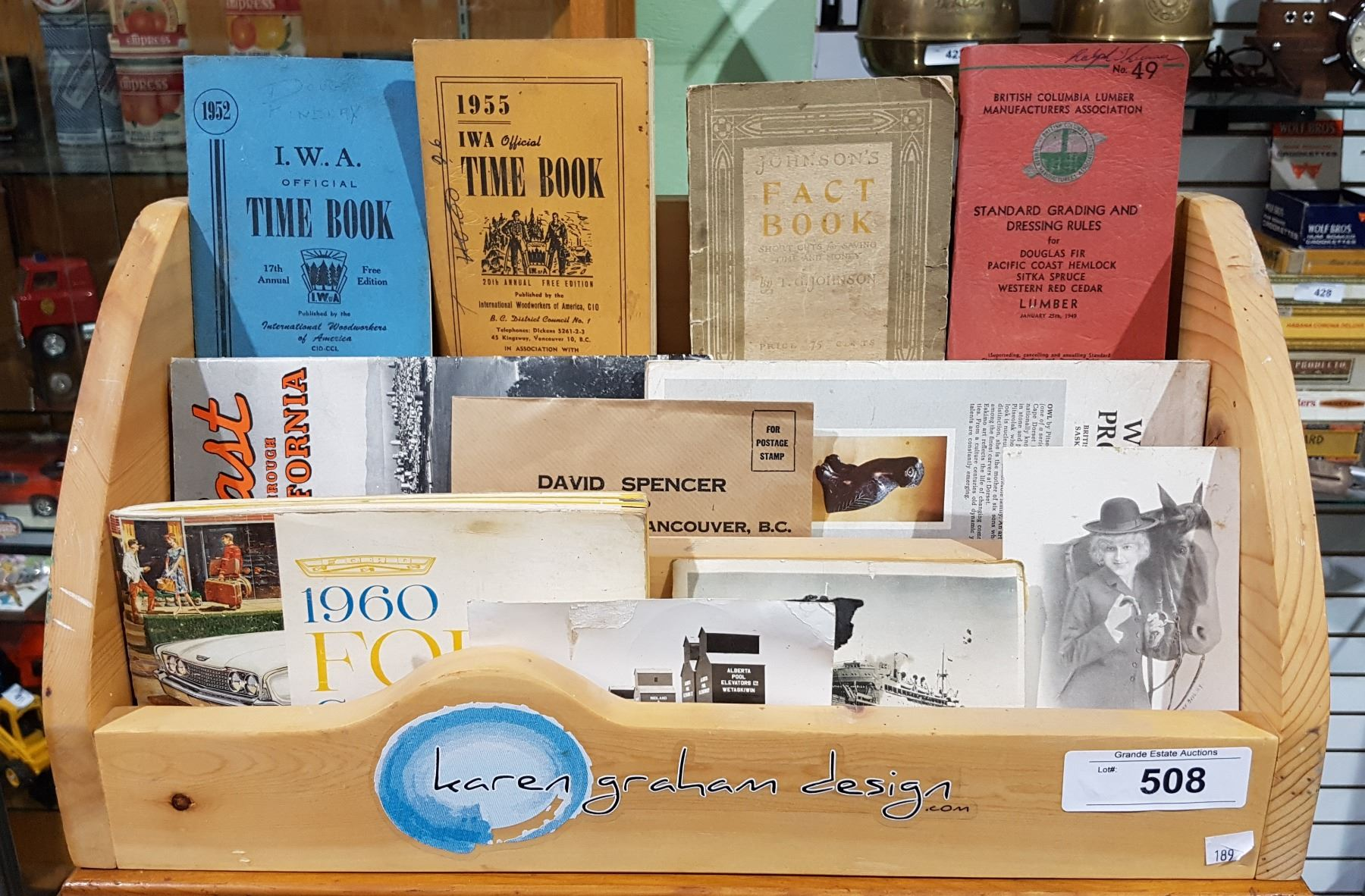 WOOD COUNTER TOP DISPLAY W/VINTAGE PAMPHLETS & MANUALS