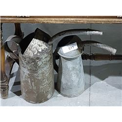TWO ANTIQUE GALVANIZED OIL FILL CANS
