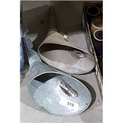 TWO VINTAGE GALVANIZED OIL FILL FUNNELS
