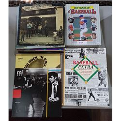 2 BASEBALL COFFEE TABLE BOOKS & APPROX 28 RECORDS