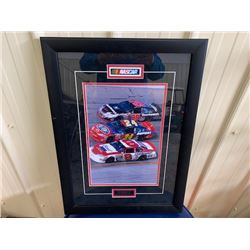 EXCLUSIVE NASCAR COLLECTION! BEAUTIFULLY FRAMED RACING PICTURE OF KEVIN HARVICK #29, JEFF GORDON #24
