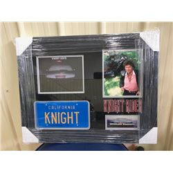 AUTOGRAPHED LICENSE PLATE OF KNIGHT RIDER SIGNED BY THE VOICE OF KITT, WILLIAM DANIELS COA INCLUDED.