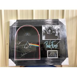 FRAMED SIGNED LP OF PINK FLOYD. SIGNED BY ROGER WATERS, NICK MASON AND DAVID GILMOUR. COMES WITH COA