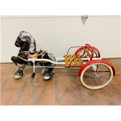 RARE! 1940s VINTAGE HORSE AND BUGGY PEDAL CAR. WOODEN SEAT. PAINTED METAL HORSE.
