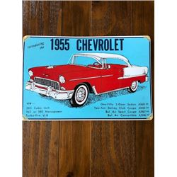 VINTAGE TIN SIGN INTRODUCING THE 1955 CHEV BELAIR