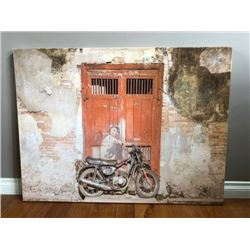 BEAUTIFUL LARGE PICTURE OF BOY ON VINTAGE MOTORCYCLE GLOSS FINISH