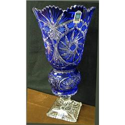 15 tall cut to clear vase by Avitra Crystal Corp.