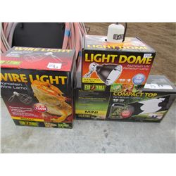 LOT OF 3 SETS OF LIGHTS (WIRE LIGHT, LIGHT DOME, AND TERRARIUM CANOPY) *NOS*