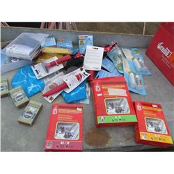 LOT OF DOG SUPPLIES (SAFETY HARNESS, BRUSHES, COMBS, FLEA AND TICK REPELLANT. ETC) *NOS*