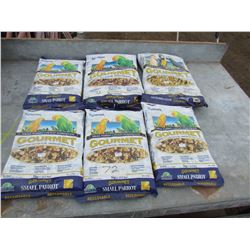 LOT OF 6 BAGS OF LARGE AND SMALL PARROT GOURMENT FOOD *NOS*