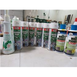 LOT OF 6 PRUNING PAINTS, 2 WASTE MANAGERS AND A LEAF CLEANER (NOS)