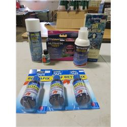 FISH FOOD, WATER TESTS AND BIRD CAGE CLEANER (NOS)