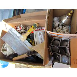 LOT OF ASSORTED LIGHT BULBS AND TOOLS