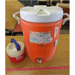 LOT OF 2 COOLERS (RUBBERMAID WATER JUG) *IGLOO COOLER APPROX 56 GALLON CAPACITY*