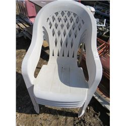 PALLET OF CHAIRS (4 PLASTIC LAWN CHAIRS) *4 FOLDING CARD TABLE CHAIRS*