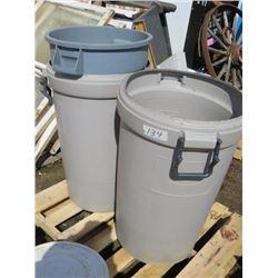 LOT OF 3 PLASTIC GARBAGE CANS