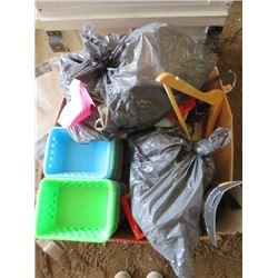 LOT OF ASSORTED PLASTIC TRAYS AND MISC ITEMS