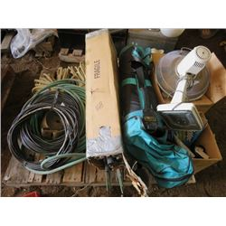 LOT OF MISC BUILDING SUPPLIES ( ROPE, HOSE, WIRE, PIPE INSULATERS, FAN, BOX OF PAINT, GOLF BAG)