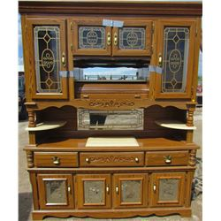 BUFFET AND HUTCH (2 PIECE) *ELECTRIC LIGHTS* (MARBLE ACCENTS) *ROLL TOP STORAGE* (MIRRORED DOORS)