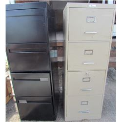 LOT OF 2 FILING CABINETS (4 DRAWER, WITH LOCK AND KEY) *BLACK 4 DRAWER*