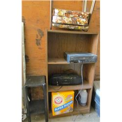 LOT OF MISC (STACKING STOOLS, SMALL STEREO, VCR, 2 SHELVES)