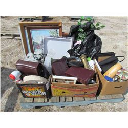 PALLET OF MISC (LUGGAGE, KNICK KNACKS, PICTURES, ETC)