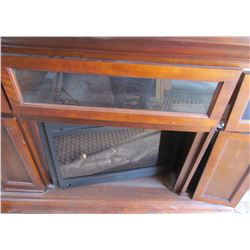 FREESTANDING ELECTRIC FIREPLACE (FIREPLACE UNIT WORKS, FRAME NEEDS REPAIR) *BUILT IN SPEAKERS*