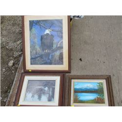 LOT OF 3 SMALL PICTURES (LOON, EAGLE, MOUNTAINS)