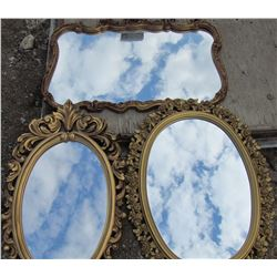 LOT OF 3 ORNATE WALL MIRRORS