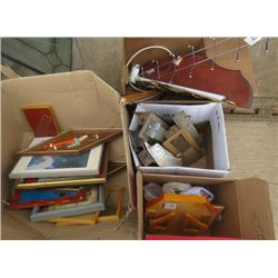 LOT OF 4 BOXES OF MISC HOUSE HOLD ITEMS (VENT COVERS, SMALL PICTURES, FRAMES, COAT RACKS, ETC)