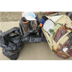 LOT OF MEN'S CLOTHES (2 BAGS AND 1 BOX) *SHOES* (BALL CAPS) *DUFFEL BAGS*
