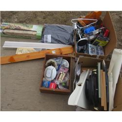 LOT OF 3 BOXES OF MISC HOUSEHOLD ITEMS (WOOD SHELF, BLIND, BOX OF FLAGSTONE EDGING, ETC)