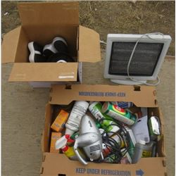 LOT OF 3 BOXES OF MISC HOUSEHOLD (CLEANERS, SPACE HEATER, BIKE SEATS, ETC)
