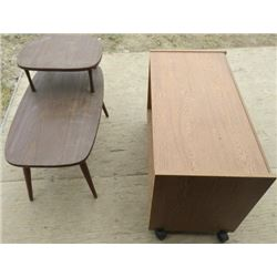 LOT OF 2 SMALL TABLES (1 TV CART ON WHEELS) * VINTAGE END TABLE WITH SHELF*