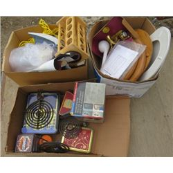 LOT OF 3 BOXES OF MISC HOUSEHOLD (BRASS BATHROOM TAPS, STOVE BURNERS, SPICE RACK, 3 WOOD TOILET SEAT