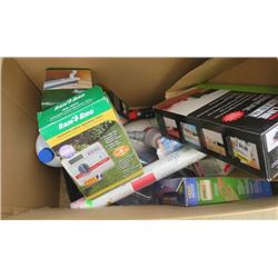 LARGE BOX OF MISC HOUSEHOLD REPAIR ITEMS (NEW WALLPAPER, CAR CLEANERS, SNOW BRUSHES, CLEANING WAND,