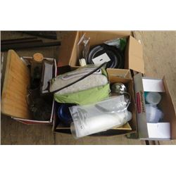 LOT OF 4 BOXES MISC KITCHEN WARE (PLATES, CUTLERY, KNIVES, MUGS, CUTTING BOARD, ETC)