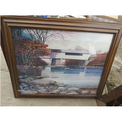 LOT OF 4 PICTURES (2 PAINTINGS, 3 WITH FRAMES) *ONE WITH BROKEN GLASS*