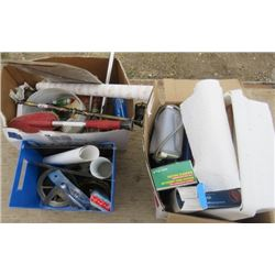 LOT OF 3 BOXES OF MISC BATH AND HOUSE WARES (FOOT BATH, HEARING AID BATTERIES, POLYDENT, ETC)
