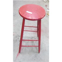"""WOOD STOOL (RED) *30"""" TALL*"""