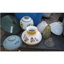 LOT OF 11 LAMP SHADES (GLASS) *METAL*