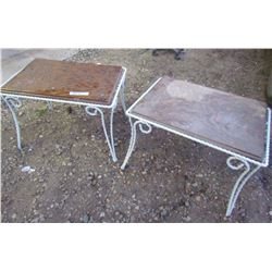 """LOT OF 2 WROUGHT IRON TABLES (OAK TOPS) *23"""" X 16"""" X 15""""HIGH*"""