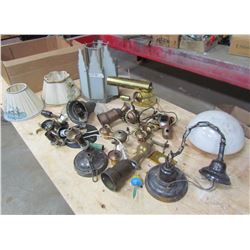 LOT OF ELECTRICAL LAMP PARTS (SHADES, BRASS, ETC)