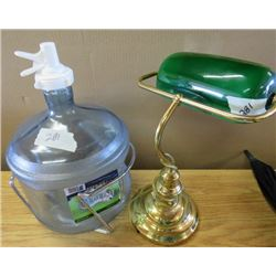 LOT INCLUDING DESK LAMP AND ICEBERG WATER JUG