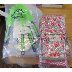 LOT OF MISC HOUSEWARE ITEMS (NEW) *CLEANING BRUSHES, OVEN MITTS, DISH DRYING MAT, ETC*