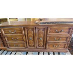 WOOD DRESSER (1982) *COMES WITH HINGED MIRROR* (6 DRAWERS) *1 CUPBOARD* (NO HARDWARE)
