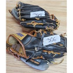 LOT OF 2 ADULT BALL GLOVES (LEFT HANDED)
