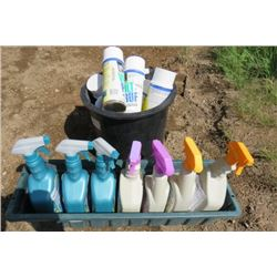 LOT OF 2 PLANTERS AND SUPPLIES (FULL OF NOS INSECTICIDAL SOAP, ROSE AND FLOWER DISEASE CONTROL AND W