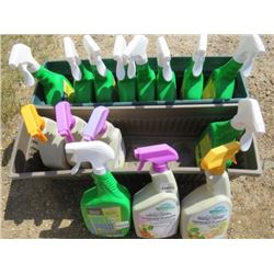 LOT OF 2 PLANTERS AND SUPPLIES (FULL OF NOS WILT PROOF, TOMATO AND VEGETABLE DISEASE CONTROL, FLOWER