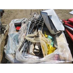 LOT OF ASSORTED ITEMS (DISC SANDER, MASTERCRAFT BELT, FILE CABINET, DODGE RAM TOW MIRRORS, SPACE HEA